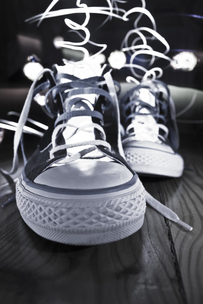 Front view of a pair of sneakers.