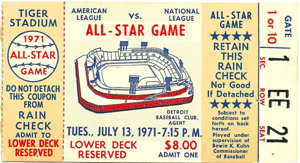 """Ticket stub for the All-Star Baseball Game on Tues., July 13, 1971. """"Lower Deck, Reserved."""" $8.00: Admit One."""
