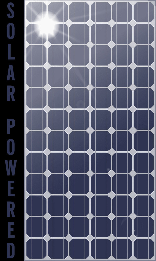 """Photo of a solar panel. Along the lefthand side are the words """"Solar Powered."""""""
