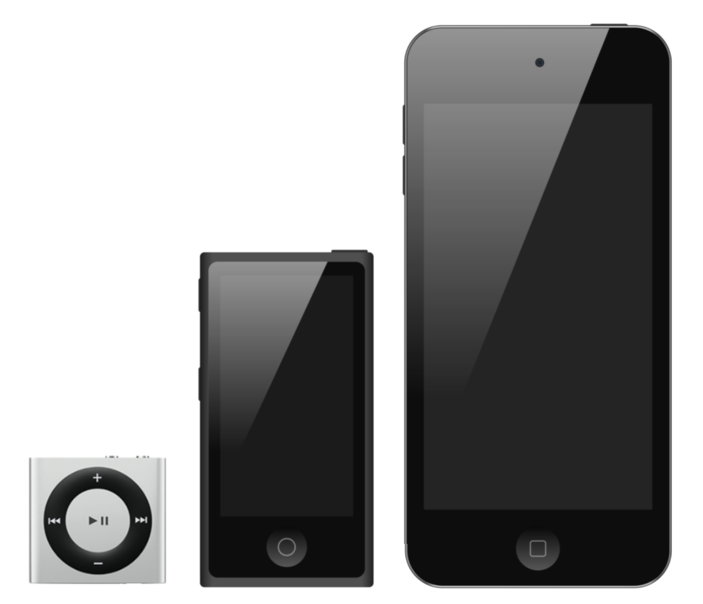 A comparison of iPods. The iPod Shuffle is a tiny square. The iPod Nano is over twice the size of the shuffle. The iPod Touch is twice the size of the iPod Nano.