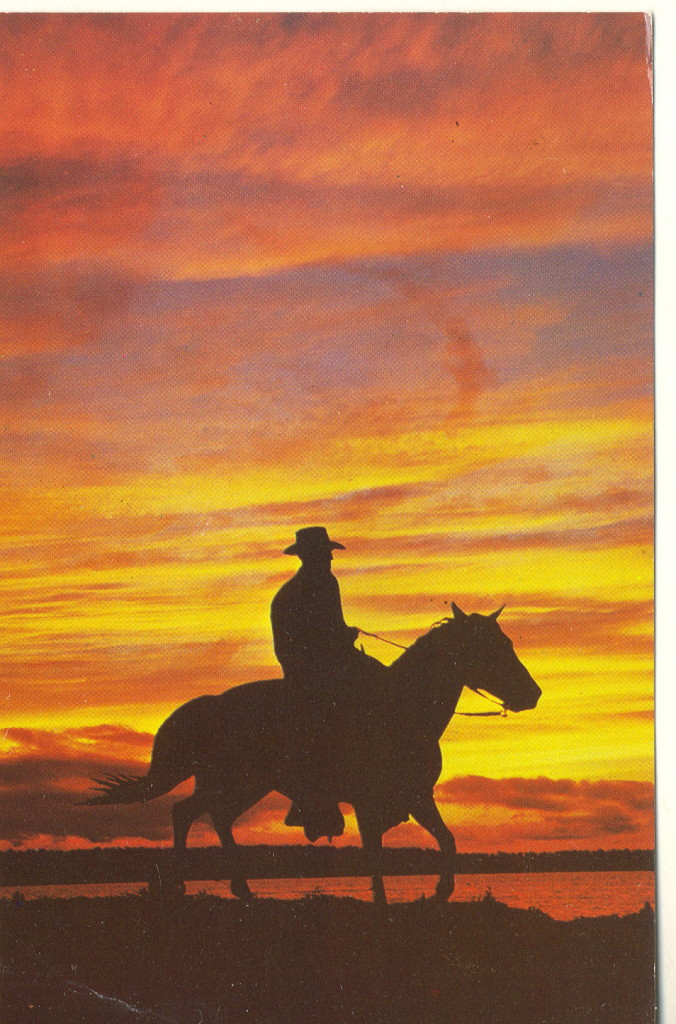 A cowboy rides off into the sunset.