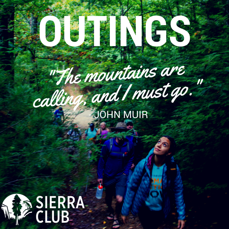 """A line of hikers walking through a forest. The word """"Outings"""" in large font at the top. The Sierra Club logo at the lower left corner. A quote from John Muir in the middle of the picture reads """"The mountains are calling, and I must go."""""""