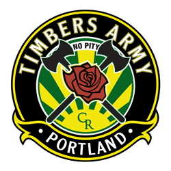 """Timbers Army Portland logo. The top of the logo reads """"Timbers Army"""" and the bottom of the logo reads """"Portland."""" Small text in the middle top reads """"No pity."""" Two crossed axes behind a rose. In the background is a sun with sunbeams coming out and the initials CR."""