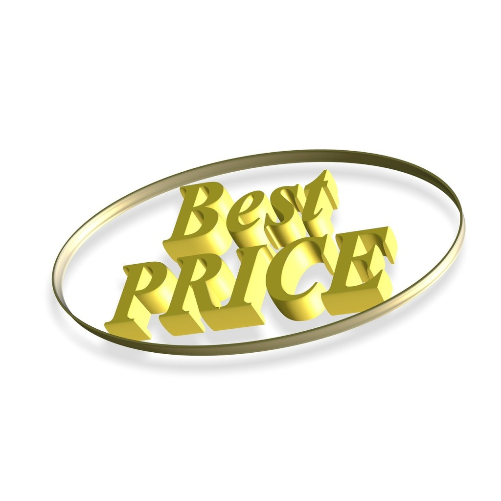 """The words """"Best Price"""" in gold type encircled in a gold oval."""