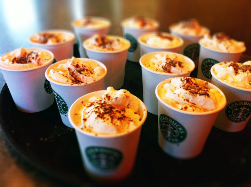 A platter full of many cups of Mocha Toffee Latte