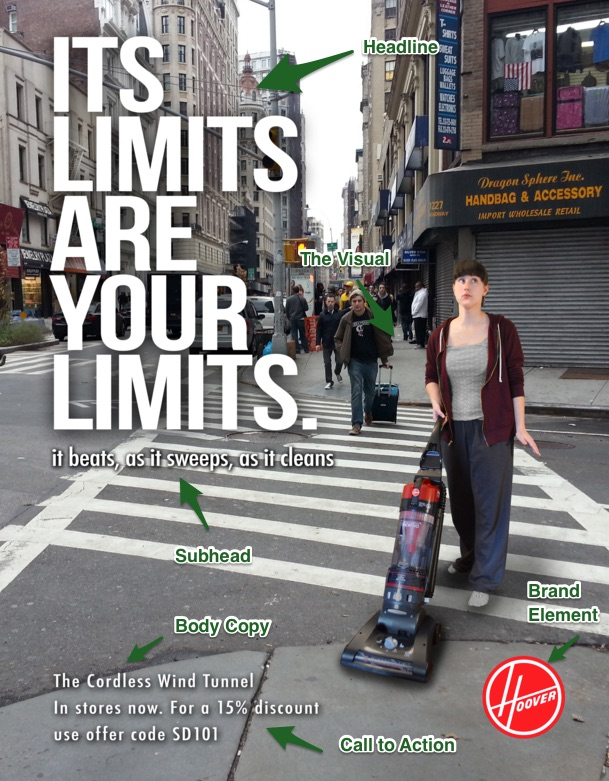 """A hoover advertisement featuring a woman pushing a vacuum cleaner through the crosswalk of a busy intersection in a big city. Text reads Its limits are your limits. Smaller text says It beats, as it sweeps, as it cleans. In the bottom corner is the Hoover logo. Also at the bottom is small text that reads The Cordless Wind Tunnel, In stores now. For a 15% discount use offer code SD101. The advertisement's parts are labeled. The woman pushing the vacuum cleaner is labeled """"Visual."""" The big text, """"Its limits are your limits"""", is labeled """"Headline."""" The smaller text that reads """"It beats, as it sweeps, as it cleans"""" is labeled """"Subhead."""" The logo in the bottom corner is labeled """"Brand element."""" The small text at the bottom of the page is labeled """"Body copy."""" The line For a 15% discount use offer code SD101 is labeled """"Call to action."""""""