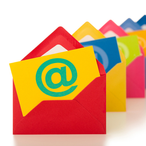 Email symbol on a row of colorful envelopes