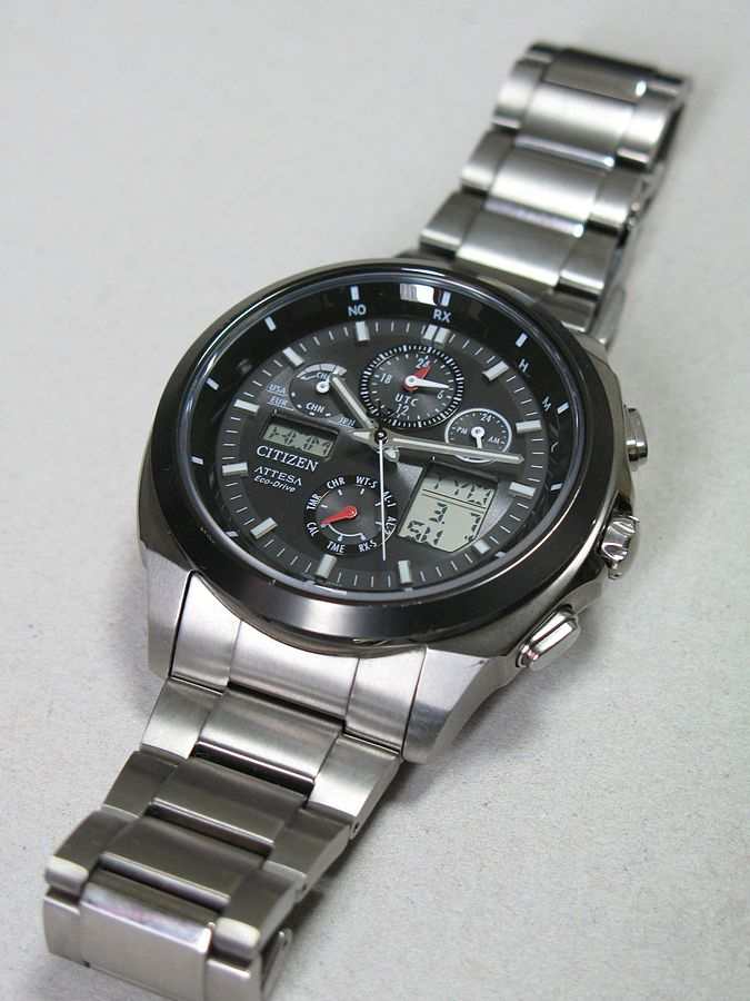 A wristwatch with several smaller measurement tools embedded within the clock.