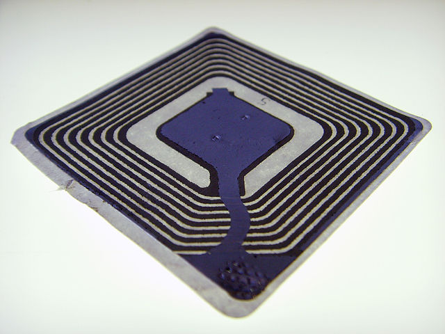 An RFID tag allows interested parties to track the location of packages in transit.
