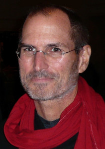 Steve Jobs wearing a red scarf