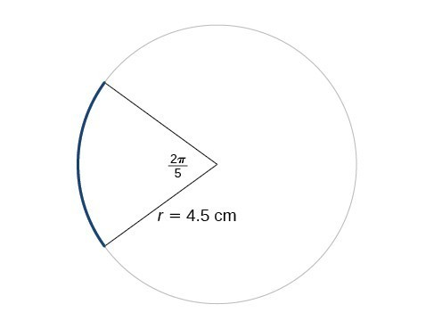 Graph of a circle with angle of 2pi/5 and a radius of 4.5 cm.