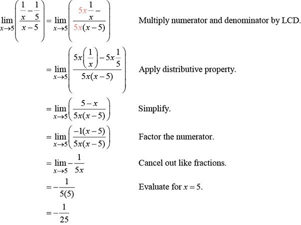 Multiply numerator and denominator by LCD. Apply distributive property. Simplify. Factor the numerator. Cancel out like fractions. Evaluate for x=5.