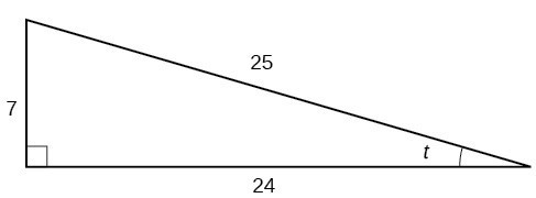 A right triangle with sides of 7, 24, and 25. Also labeled is angle t.