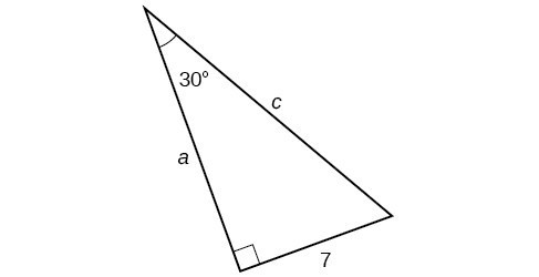 A right triangle with sides a, c, and 7. Angle of 30 degrees is also labeled.