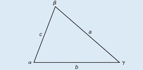 A triangle with standard labels: angles alpha, beta, and gamma with opposite sides a, b, and c respectively.