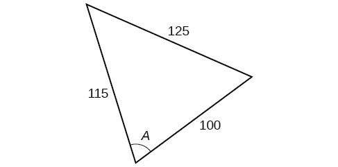 A triangle. Angle A is opposite a side of length 125. The other two sides are 115 and 100.