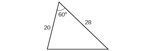 A triangle. One angle is 60 degrees with opposite side unknown. The other two sides are 20 and 28.