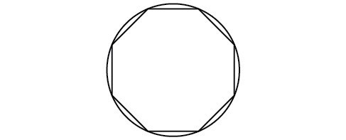 An octagon inscribed in a circle.