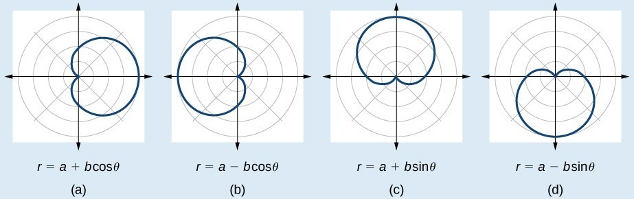 Graph of four cardioids. (A) is r = a + bcos(theta). Cardioid extending to the right. (B) is r=a-bcos(theta). Cardioid extending to the left. (C) is r=a+bsin(theta). Cardioid extending up. (D) is r=a-bsin(theta). Cardioid extending down.