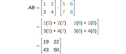 The first column of the product of A and B is defined as the result of matrix -vector multiplication of A and the first column of B. Column two of the product of A and B is defined as the result of the matrix-vector multiplication of A and the second column of B.