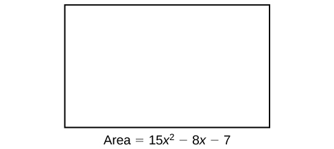 A rectangle that's labeled: Area = fifteen times x squared minus eight times x minus seven.
