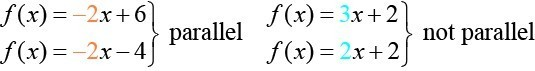 The functions 2x plus 6 and negative 2x minus 4 are parallel. The functions 3x plus 2 and 2x plus 2 are not parallel.