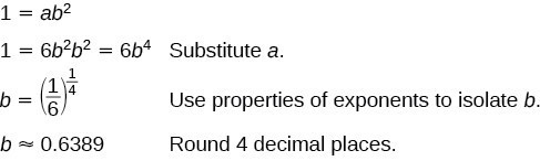 Substitute a. Use properties of exponents to isolate b. Round 4 decimal places.
