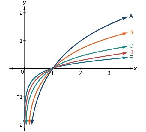 Graph of five logarithmic functions.