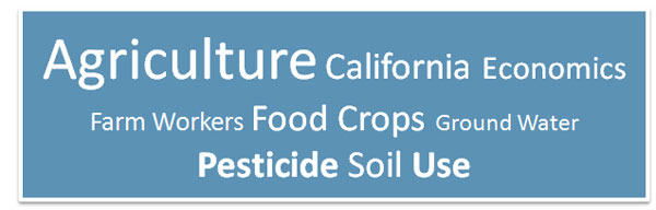 A word cloud featuring the following words: Agriculture, California, Economics, Farm workers, Food crops, Ground water, Pesticide, Soil, and Use