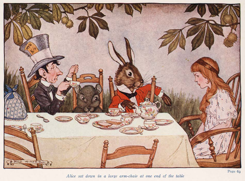 "Alice, the Mad Hatter, the March Hare, and the Doormouse all sitting for tea. The drawing has an illustrated caption reading ""Alice sat down in a large arm-chair at one end of the table."""