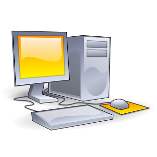 Clip art of a computer monitor, tower, mouse, and keyboard.