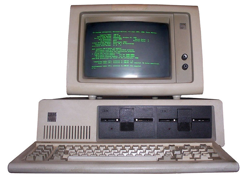 IBM PC 5150 with keyboard and green monochrome monitor (5151), running MS-DOS 5.0