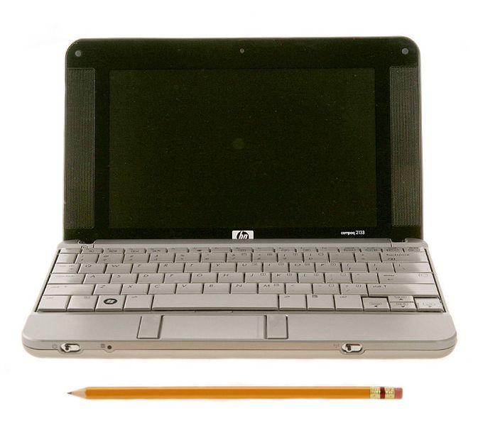 HP 2133 Mini-Note PC (front view compare with pencil). The netbook's length is just a few inches longer than a pencil.