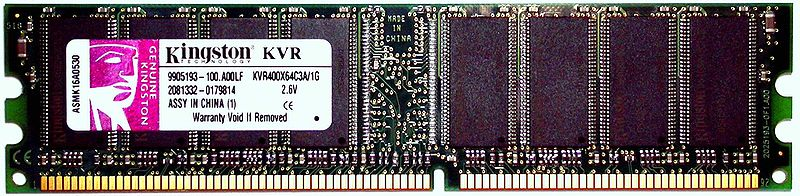 1 GiB Kingston DDR-SDRAM with PC-3200 speedgrade