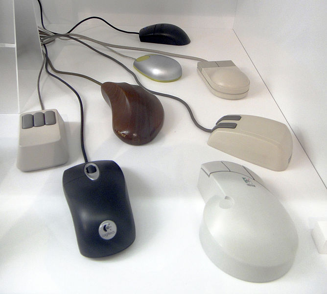 Eight different mice with slightly different body styles. They all have between two and three buttons at their tops.
