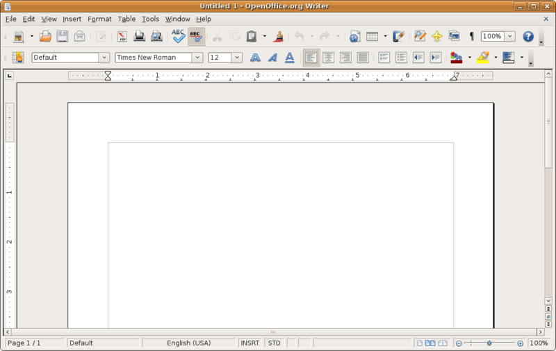 A blank document is shown in the window