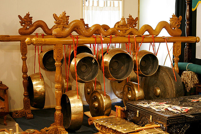 A gong collection in a Gamelan ensemble of instruments – Indonesian Embassy Canberra