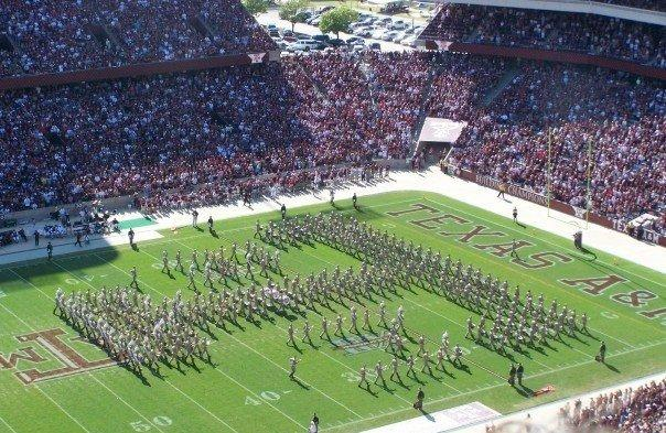 Texas A & M University's marching band in their trademark aTm formation