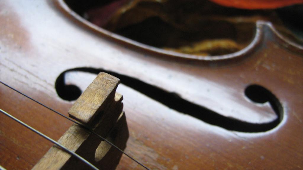 Photo of the bridge of a violin.