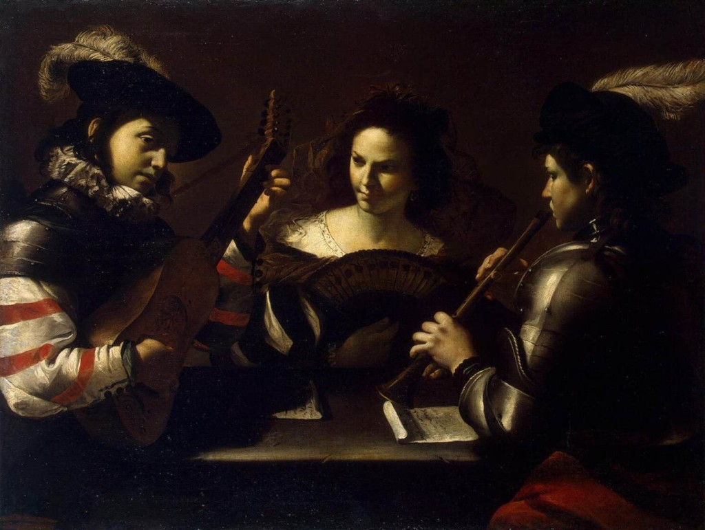 Painting of two musicians; a woman holding a fan sits between them. Painting by Mattia Preti