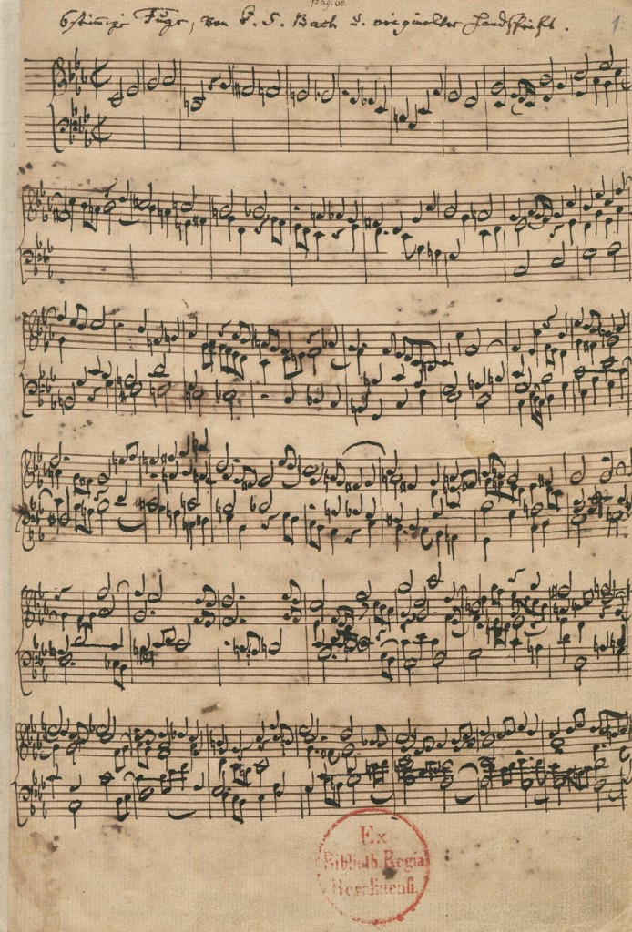 """The first page of the manuscript of the """"Ricercar a 6"""" BWV 1079 by Johann Sebastian Bach."""