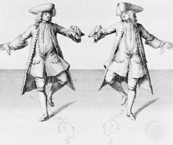 Engraving of two men in fancy tricorn hats demonstrating the first steps of a chaconne dance.