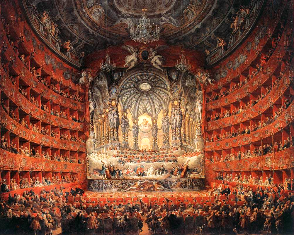 Painting of Musical feast given by the cardinal de La Rochefoucauld in the Teatro Argentina in Rome in 1747 on the occasion of the marriage of Dauphin, son of Louis XV