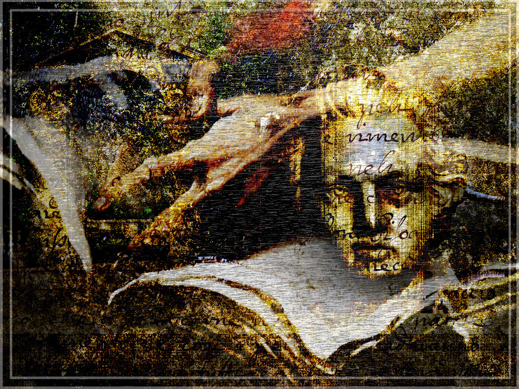 "Collage with several superimposed images: an open book, two gnarled hands reaching into the book, and a man's head. Composition is entitled ""Mozart."""