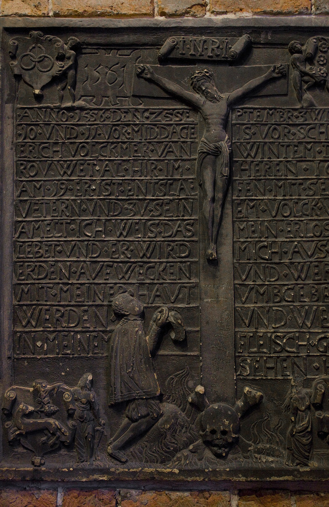 Detail from a memorial in the Marktkirche in Hannover, Germany.