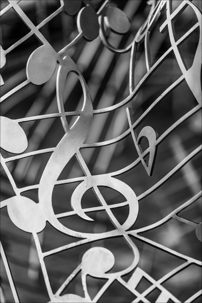 Artistic composition with the treble clef and notes
