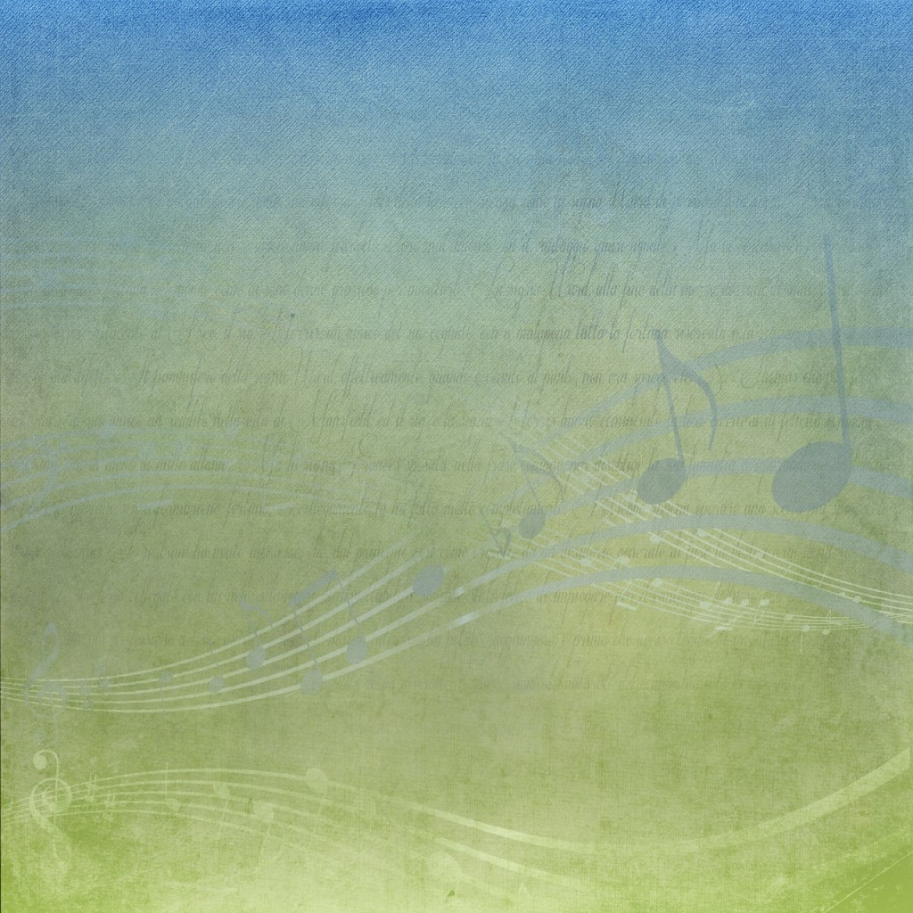 Several faint notes are visible against a green background