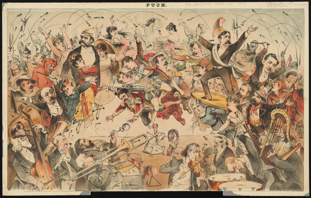 Print shows a clash between the Academy of Music and the Metropolitan Opera, with Henry E. Abbey, opera singers, conductors, and orchestras