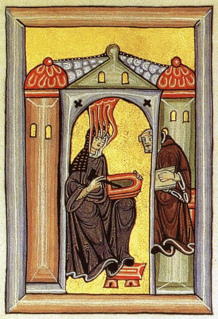 Illustration of Hildegard de Bingen receiving divine inspiration