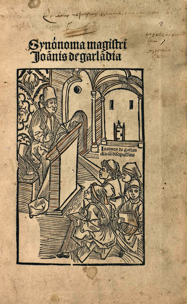 "Cover from ""Synónoma magistri"", by Johannes de Garlandia."